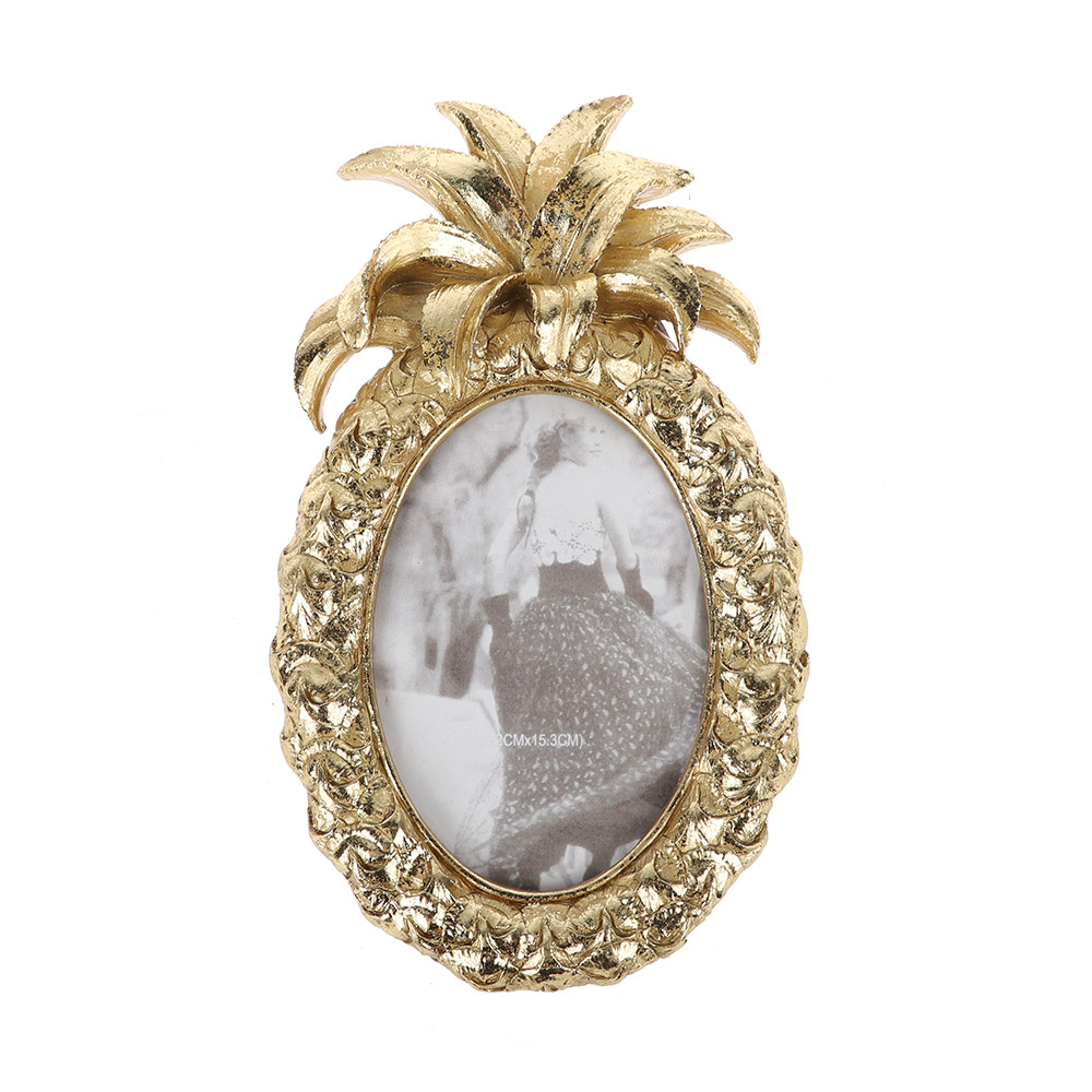 Wholesale Retro Gold Photo Frame In The Shape of a Pineapple Wedding Decorations Desk Rahmen For Home Decor