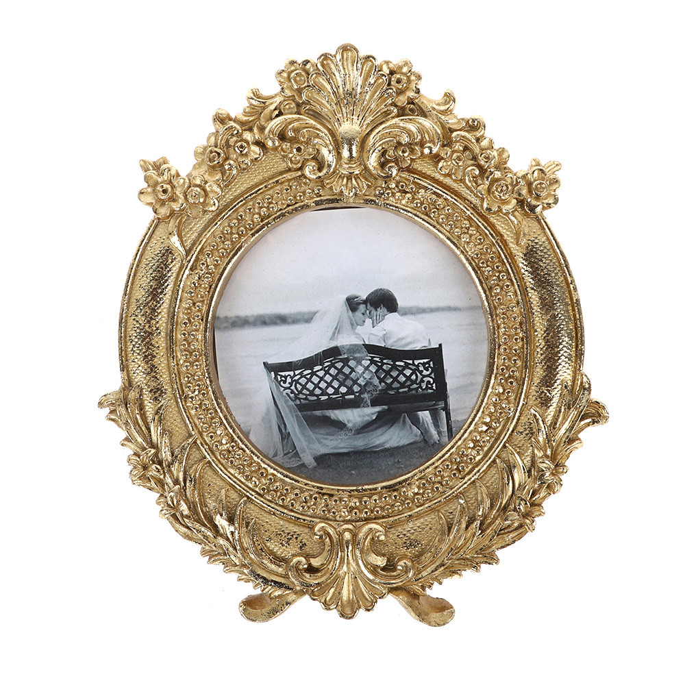 Wholesale Retro Gold Flower border Photo Frame Wedding Decorations Art Decorative Gold Desk rahmen For Home Decor