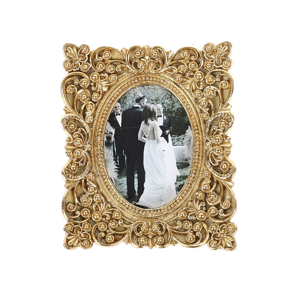 Retro Gold Square Photo Frame Decorated With Flowers Wedding Decorations Desk Rahmen For Home Decor