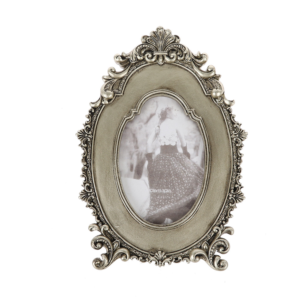 Wholesale Retro Oval Silver Photo Frame Wedding Decorations Desk Rahmen For Home Decor