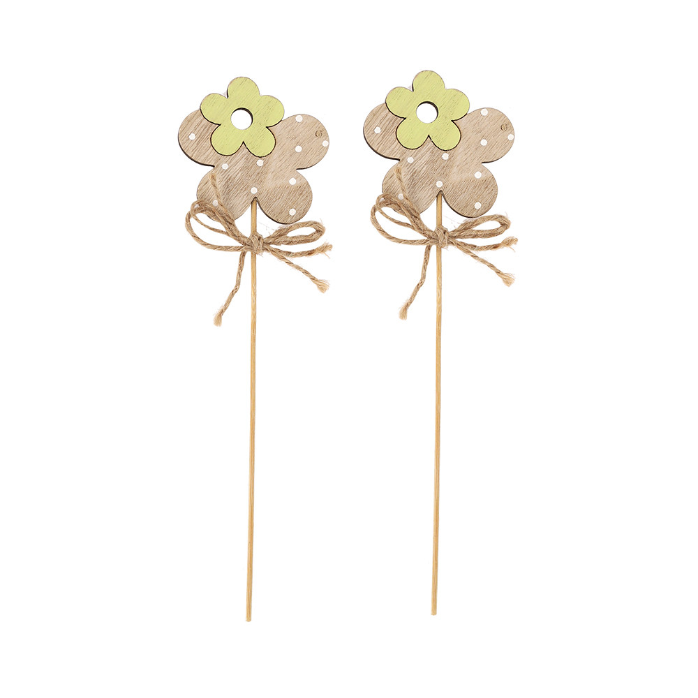 best sell happy Easter wooden flower pick on 20 cm stick floral plugs