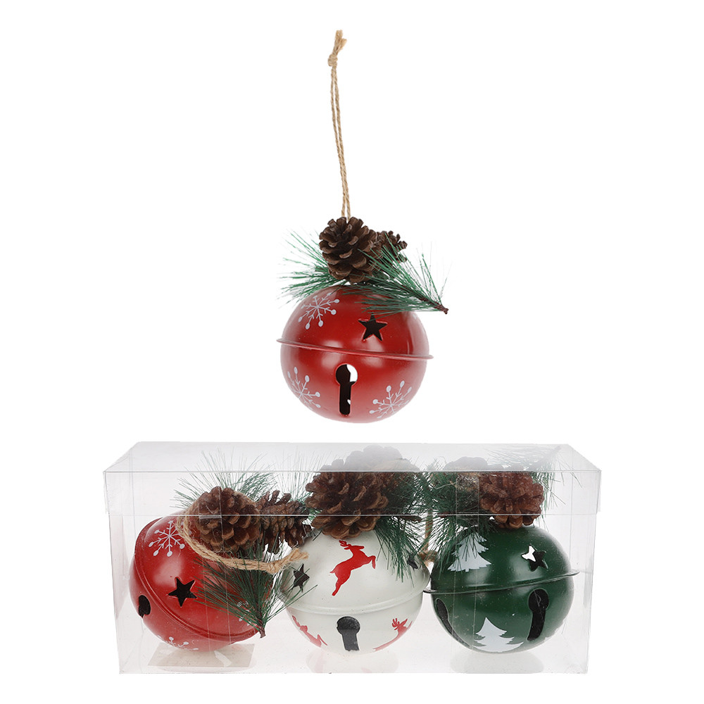 Factory crafts Christmas bell with pine cone Xmas tree hanging