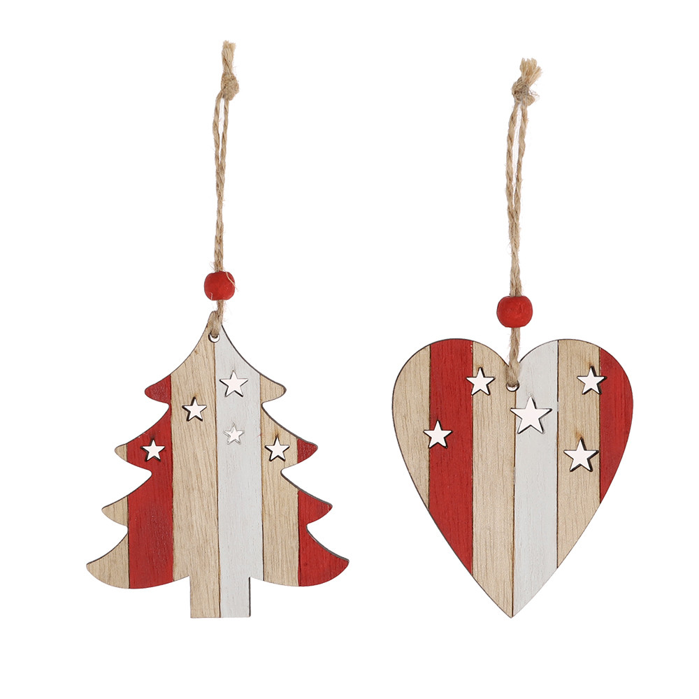 Wood craft Star Heart Santa Christmas Tree Decorations Wooden pendant