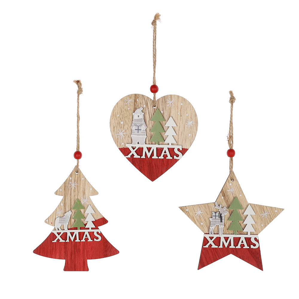 Wholesale Christmas Bell Ornaments Decoration Pendant Wooden Hert Tree Hanging For Xmas Christmas Party Home Decors