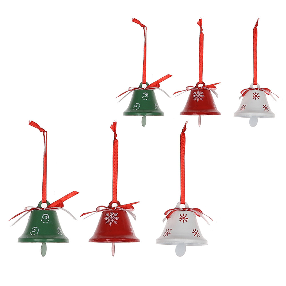 2020 Metal Red White Green Jingle Bell Christmas Tree Pendant Hanging Decoration Ornament For Xmas New Year Party Decoration