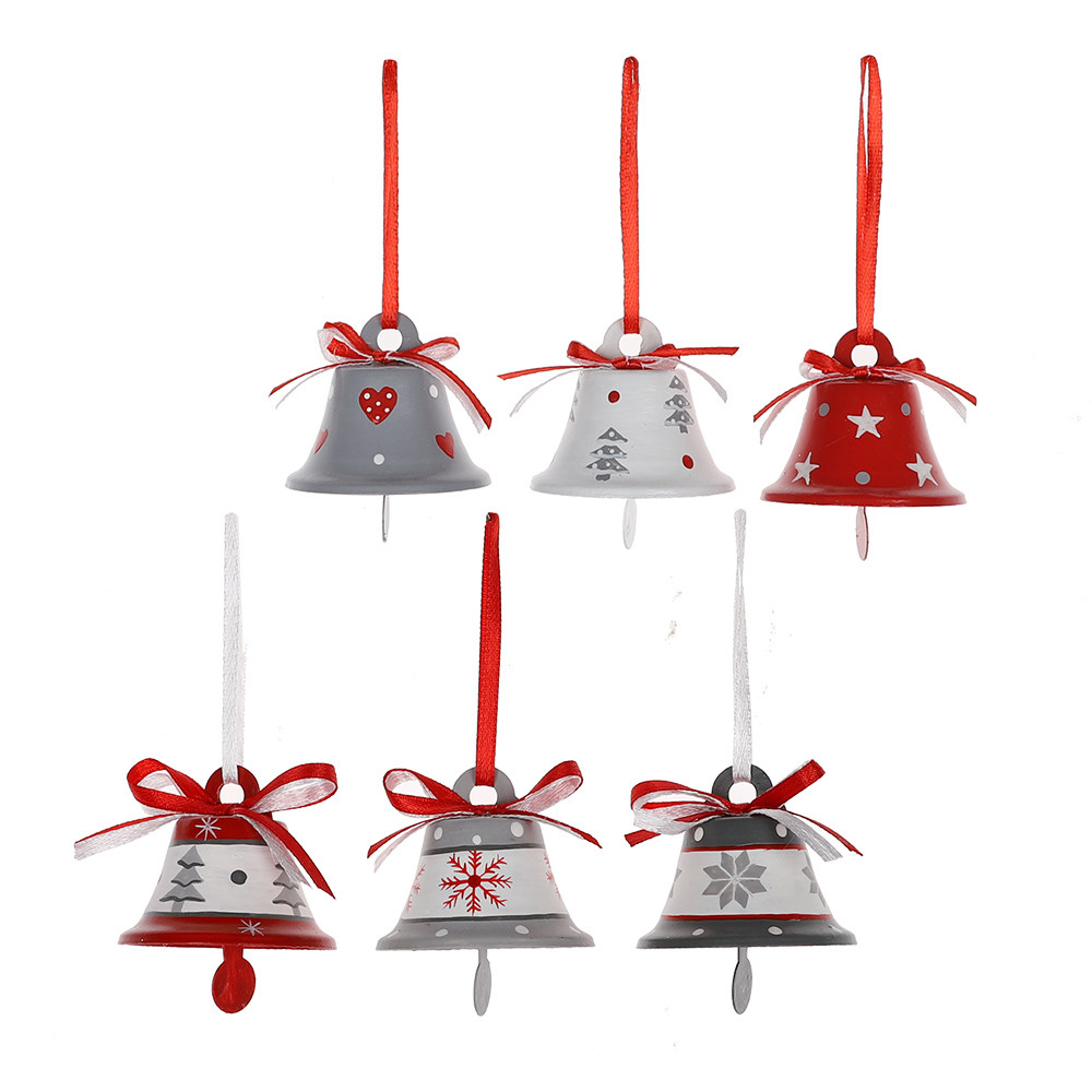 Wholesale Metal Red White Green Personalized Jingle Bell Christmas Tree Pendant Hanging Decoration Ornament