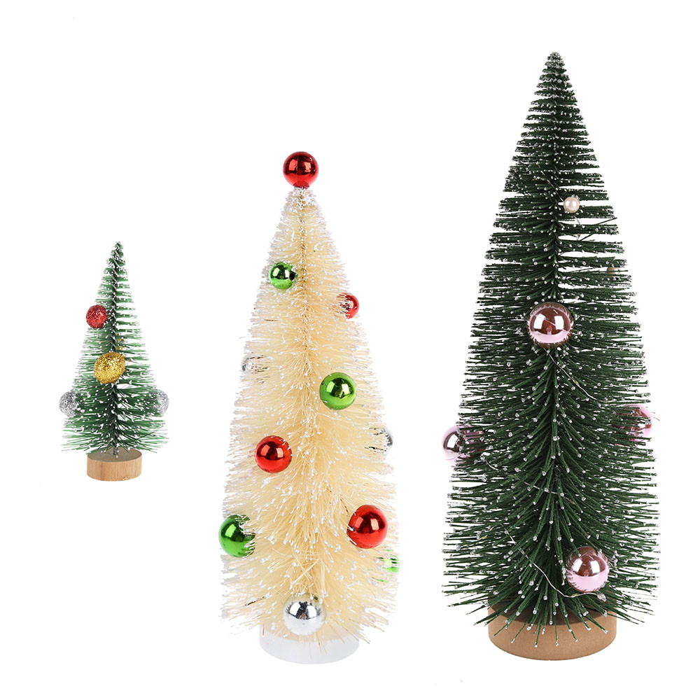 Artificial Mini Christmas Plastic Wooden Mixed Color Bottle Brush Trees For Xmas Christmas Party Home Decors