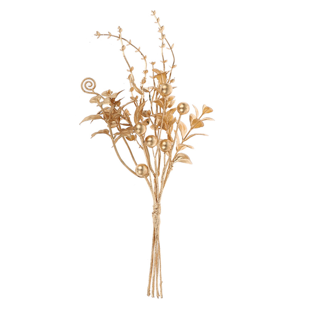 Wholesale 2020 Customizable Design Artificial Gold Floral Pick Branch For Xmas Christmas Party Home Decors
