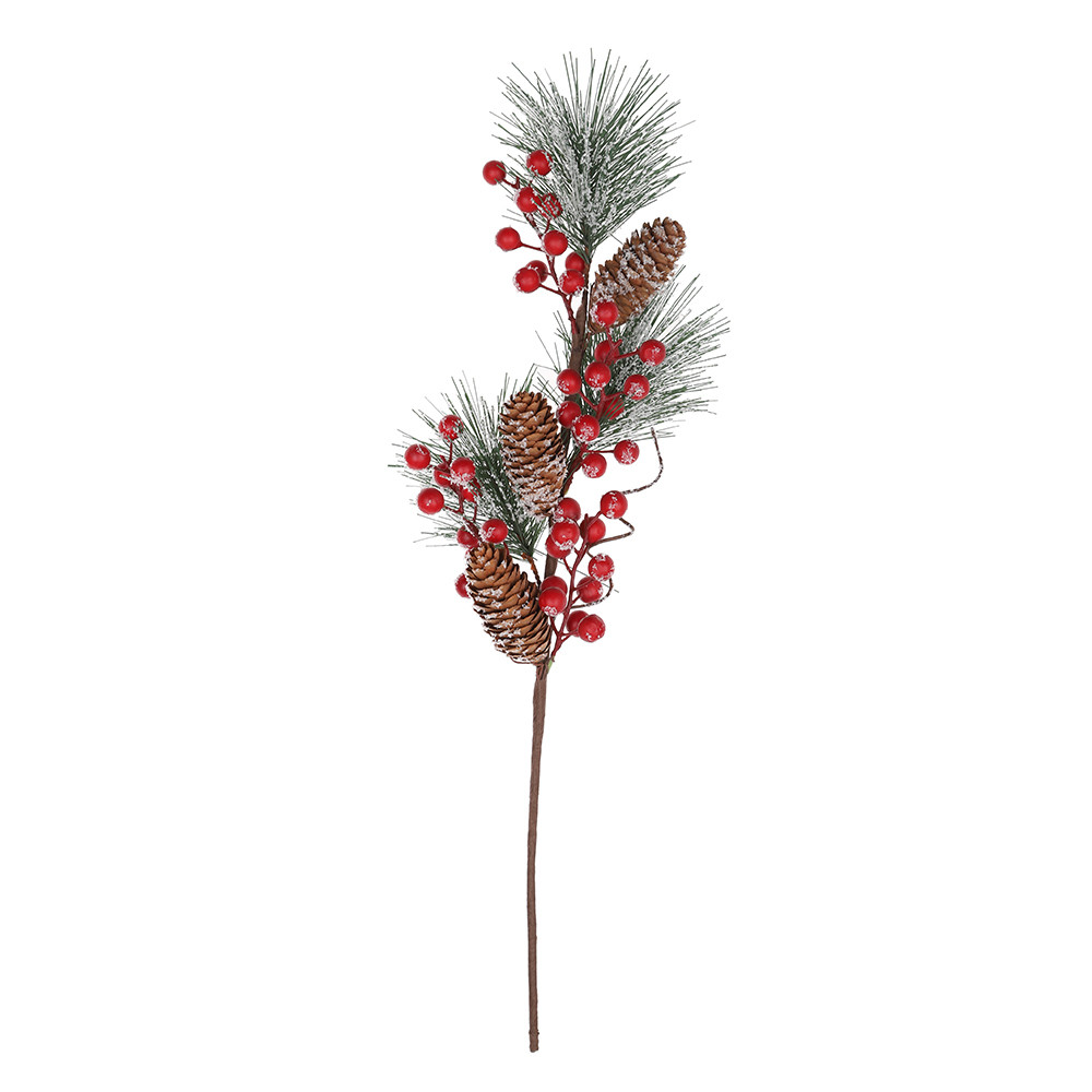 Artificial Berry Snowy Picks, Christmas Pine Picks with Pine Cones for Christmas Decorations DIY crafts
