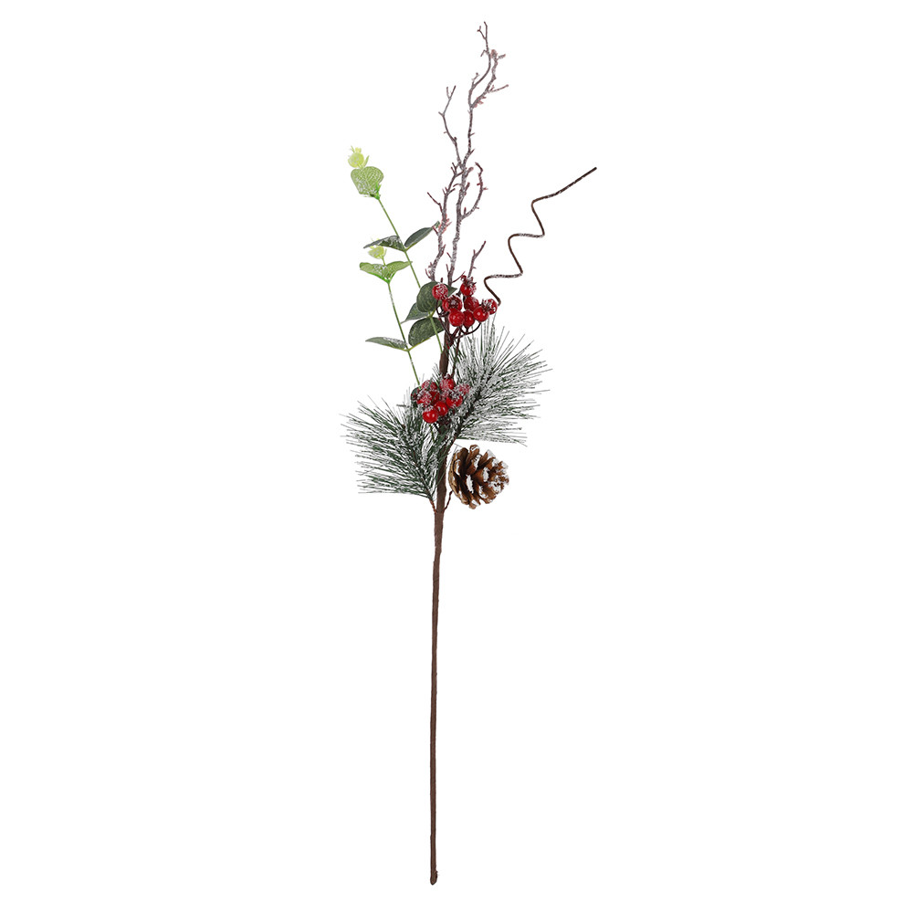Home decoration Accessories Plastic Decorative Christmas Berry Artificial Pine Tree Branches Red Fruit fake Flower