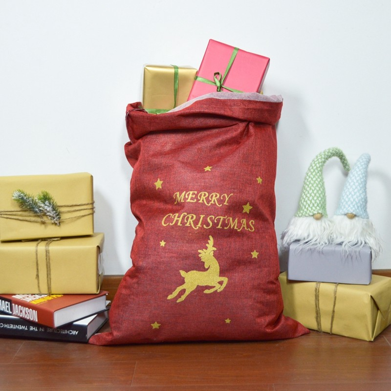 Drawstring Christmas gift bags deer jute Bags for holiday