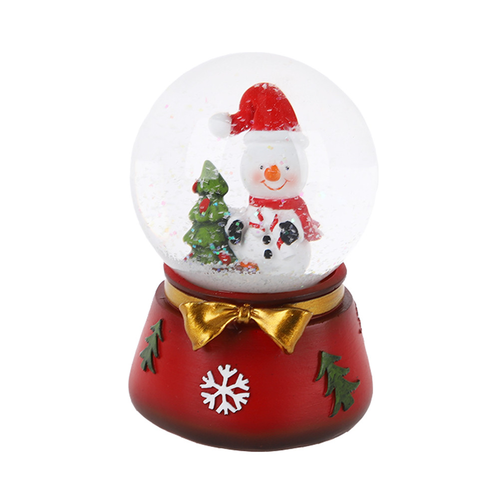 Lovely Christmas snowman Snow Globe Ornament Crystal Water Ball Glass Snowball children's prize decoration