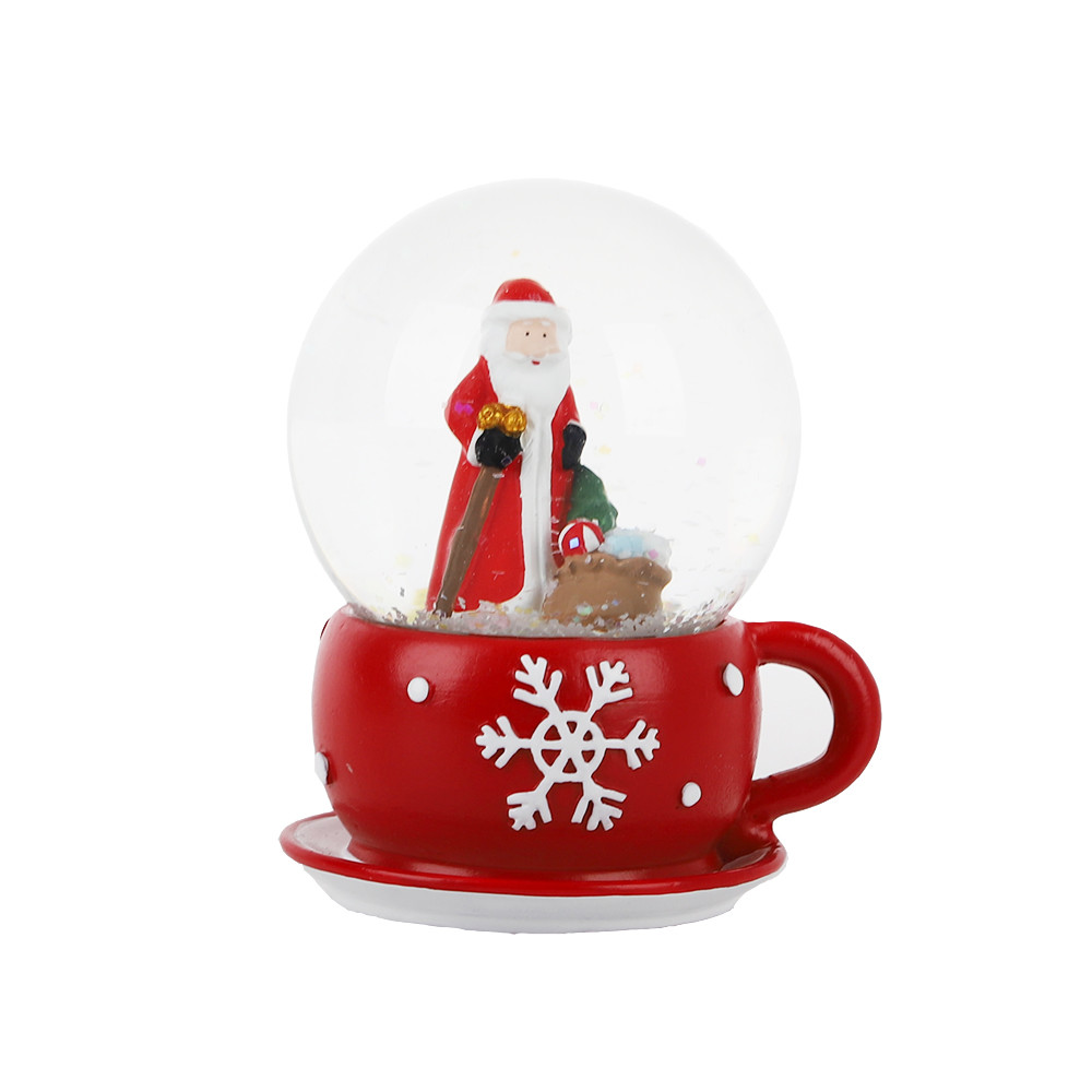 Snow Globe Glitter with Polyresin Cup Base crystal water ball for Christmas decoration