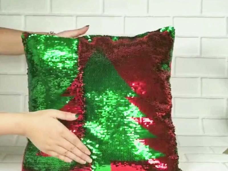 Fashion Snowflake Sequin Sparkle Pillow Christmas Decor