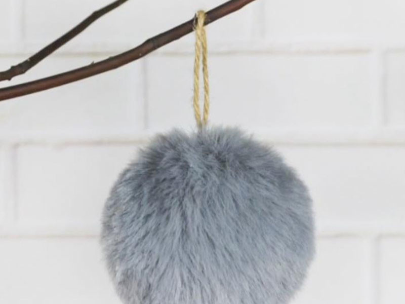 Grey Fluffy Christmas Ball Hanging Tc-ho17904